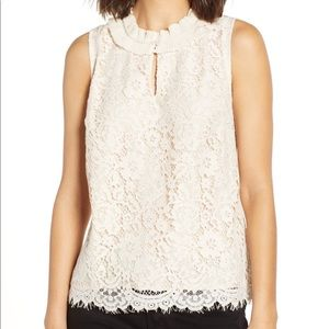 J. Crew lace ruffle neck top size small dune